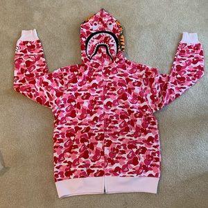 Bape Pink ABC Camo Shark Hoodie Zip-Up Size Medium